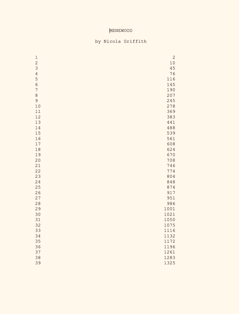 Sepia coloured contents page of manuscript titled Menewood by Nicola Griffith listing 39 chapters