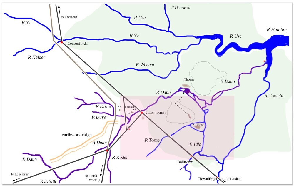 Map showing Humber basin with rivers in blue, roman road in brown, and swamp in green