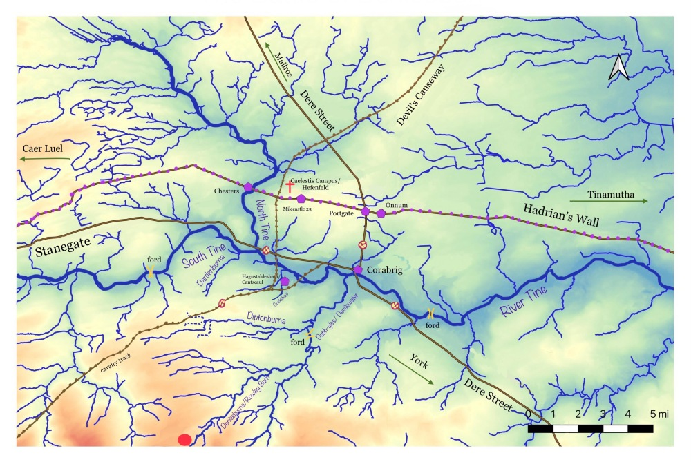 Contour map showing the Tyne Valley , Hadrian's Wall, minor rivers, and roman road, plus fords and forts