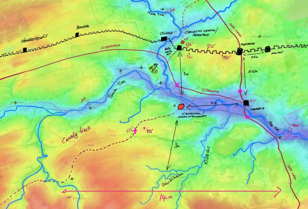 Topographical map of Hadrian's Wall, Hexham, Corbridge, and Deniseburna, showing roman roads and hill top elevations